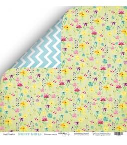 """Лист двухсторонней бумаги Scrapmir """"Полевые цветы"""" из коллекции """"Sweet Girls"""" 30*30 см"""