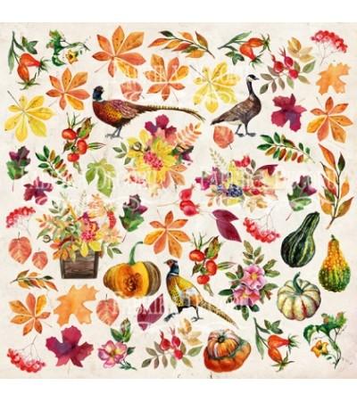 """Лист с картинками для вырезания """"Botany autumn"""" 30,5х30,5 см"""