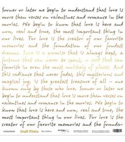 """Лист  бумаги с золотым тиснением  Scrapmir """"Про любовь"""" из коллекции """"Simple Flowers""""  30*30 см"""