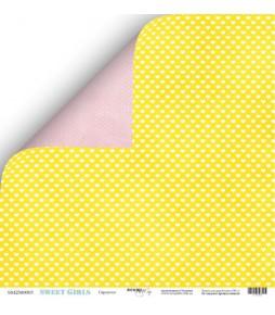 """Лист двухсторонней бумаги Scrapmir """"Сердечки"""" из коллекции """"Sweet Girls""""  30*30 см"""