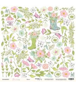 """Лист бумаги для вырезания """"Цветы"""" из коллекции """"Pur Pur"""" 30*30 см"""