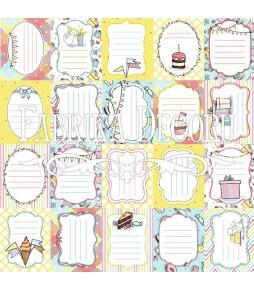 """Лист с карточками для вырезания """"Bunny birthday party № 1"""" 30 см Х 30 см"""