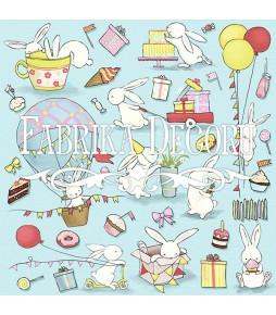 """Лист с карточками для вырезания """"Bunny birthday party (зайцы)""""  30 см Х 30 см"""