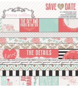 """1/2 Набора бумаги """"Save the Date""""  15*15 см"""