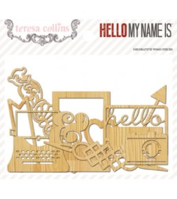"Вырубки из дерева "" Hello My Name Is"", 23 шт"