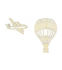 """Лазерные вырубки из дерева """" Воздушный шар и самолет"""""""