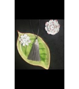 Кисть из шелковой нити, 8 см, цвет серый