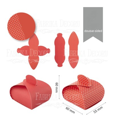 Заготовки для бонбоньерок #006, красный/красный, белая точка