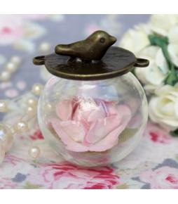 Набор стеклянный кулон-шар с птичкой,  20 мм