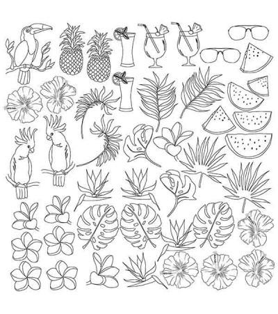 """Лист (картинка антистресс) для раскрашивания акварельными чернилами """"Tropical paradise"""" 30,5 см Х 30,5 см"""