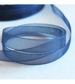 Лента капрон (органза), синяя, 6 мм