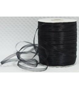Лента капрон (органза), черная, 6 мм