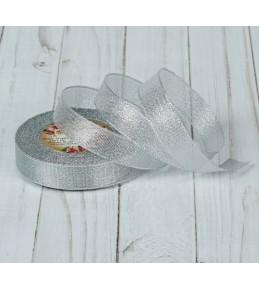 Лента парчовая, 20 мм, цвет серебро