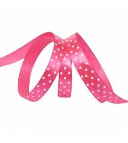 Лента атласная, розовая в горох, 12 мм