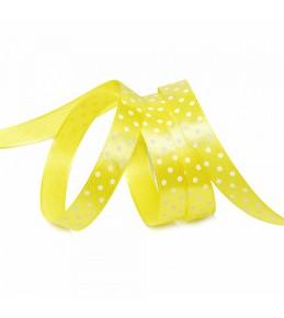 Лента атласная, желтая в горох, 12 мм