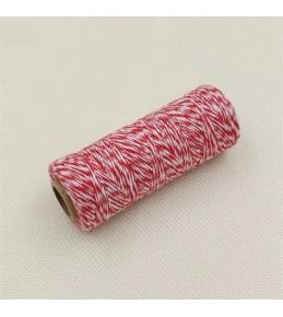 Двухцветный хлопковый шнур, красный, 1 м
