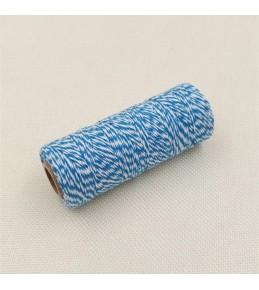 Двухцветный хлопковый шнур, голубой, 1 м
