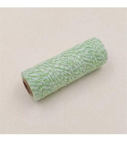 Двухцветный хлопковый шнур, зеленый, 1 м