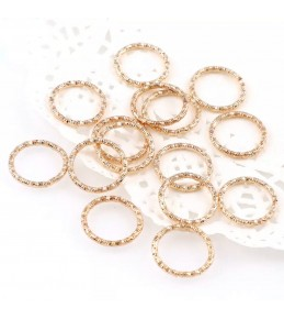 Кольца-переходники витые, 12 мм, 10 штук, золото