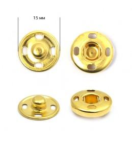 Кнопка пришивная, золото, 15 мм