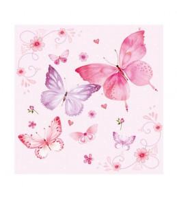 "Салфетка бумажная ""Gentle butterflies rosa"", 33*33 см"