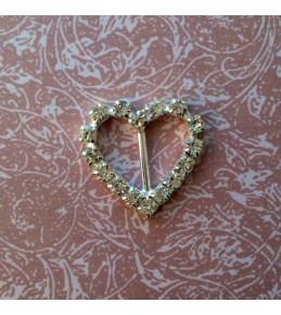 Брошь (пряжка) с камнями,  сердце, 2 см