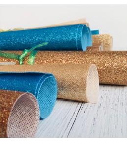Декоративный материал с глиттером, 28 см*28 см, синий