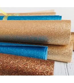 Декоративный материал с глиттером, 28 см*28 см, св.золото