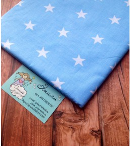 "Отрез ткани ""Белые звезды на голубом"", 40*50 см"