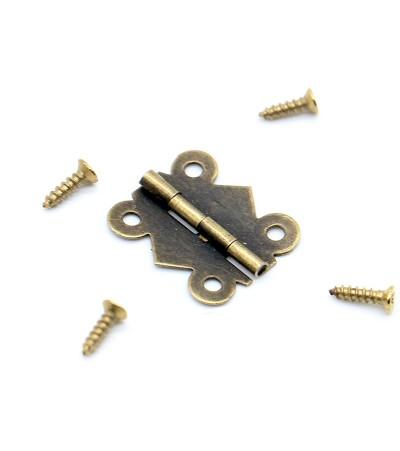 Миниатюрные дверные петли, 20*17 мм, бронза