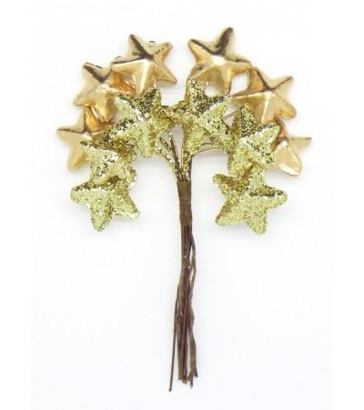 Декоративный букетик Звезды, золото