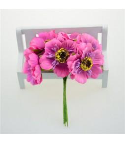 Цветы из ткани, ярко-розовые, 4,5 см