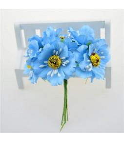 Цветы из ткани, голубые, 4,5 см
