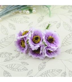 Цветы из ткани, фиолетовые, 4,5 см