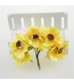 Цветы из ткани, желтые, 4,5 см
