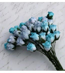 Бутоны роз, голубой микс  8-10 мм