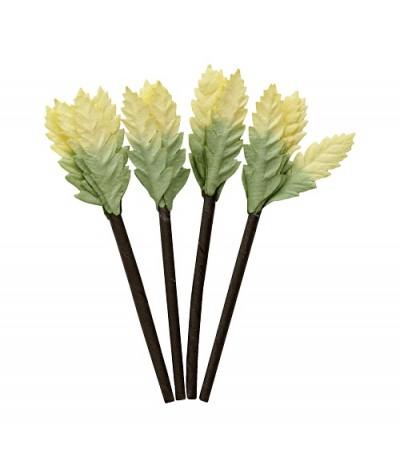 Листочки на веточке, 4 шт, желто-зеленые