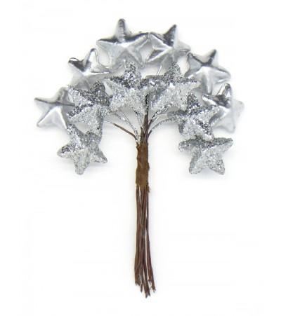 Декоративный букетик Звезды, серебро