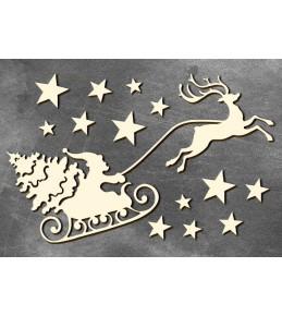 """Набор чипборда """"Дед Мороз и сани 1"""", 10см x 15 см"""