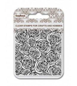 """Фоновый силиконовый штамп """"Розы"""" 10.5* 10.5 см."""